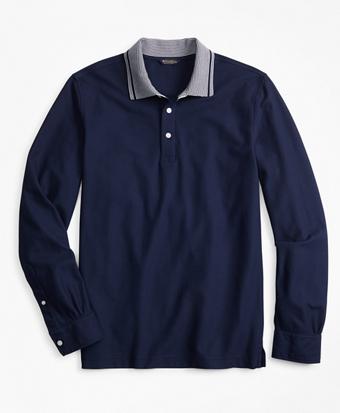 Two-Tone Long-Sleeve Polo Shirt
