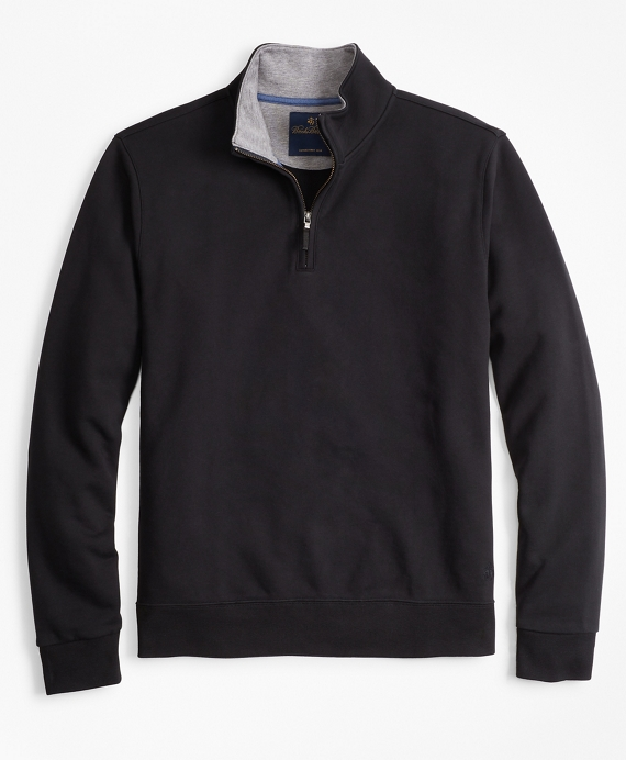 French Terry Half-Zip Black