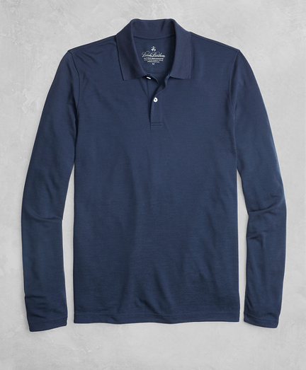 Golden Fleece® BrooksTech™ Two-Button Long-Sleeve Polo Shirt
