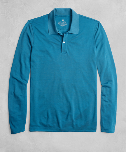 Golden Fleece® BrooksTech™ Two-Button Long-Sleeve Polo Shirt