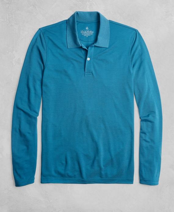 Golden Fleece® BrooksTech™ Two-Button Long-Sleeve Polo Shirt Teal