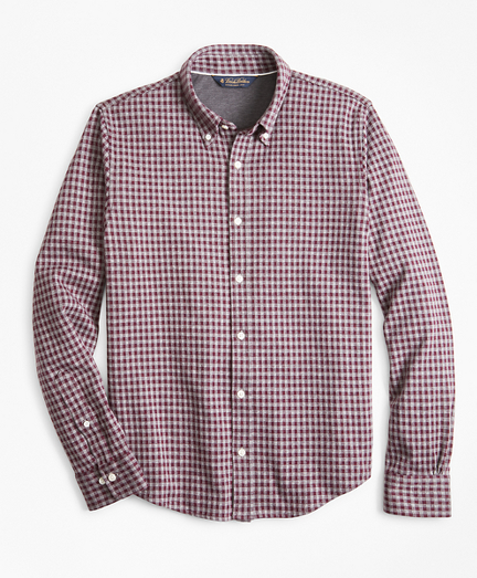 Gingham Button-Down Knit Shirt