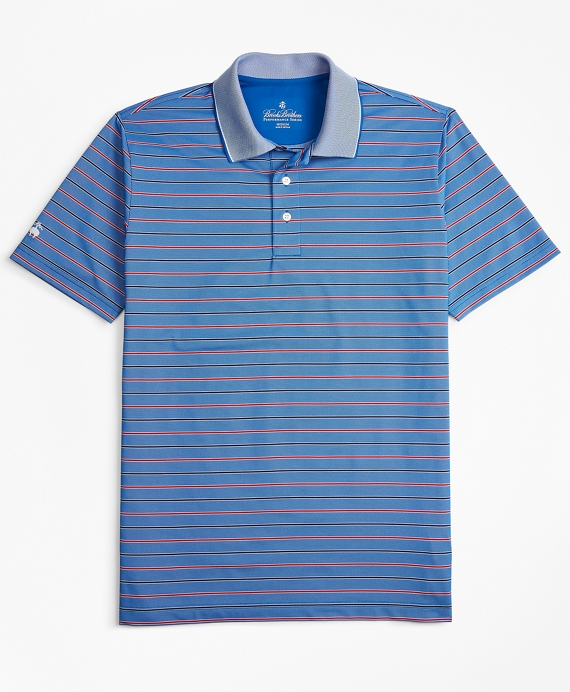 Performance Series Bold Bird's-Eye  Stripe Polo Shirt Blue