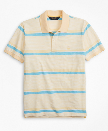 Slim Fit Cotton and Linen Horizontal Stripe Polo Shirt