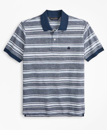 Original Fit Cotton and Linen Stripe Polo Shirt
