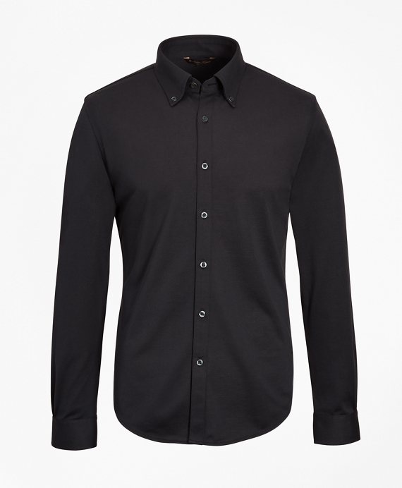 Premium Extra-Fine Supima® Cotton Pique Button-Down Shirt Black