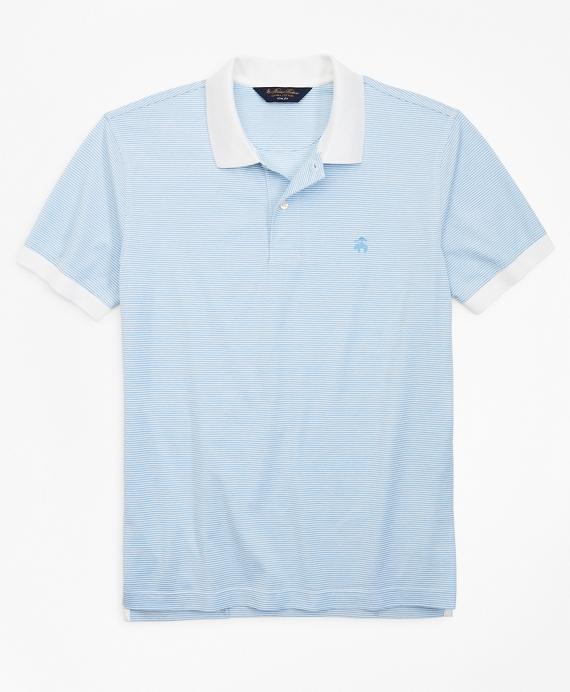 Slim Fit Stripe Polo Shirt Blue