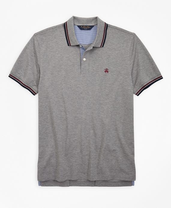 Slim Fit Stripe Trim Polo Shirt Grey