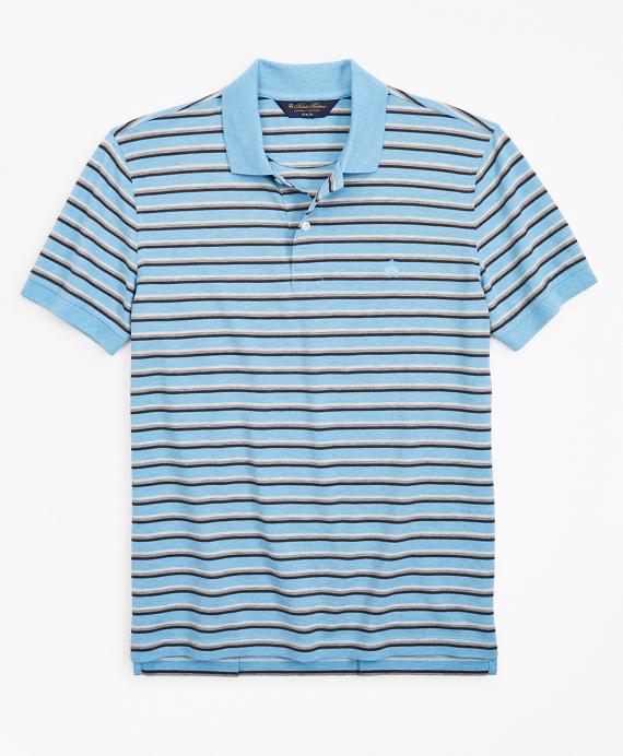 Slim Fit Heathered Stripe Polo Shirt Blue