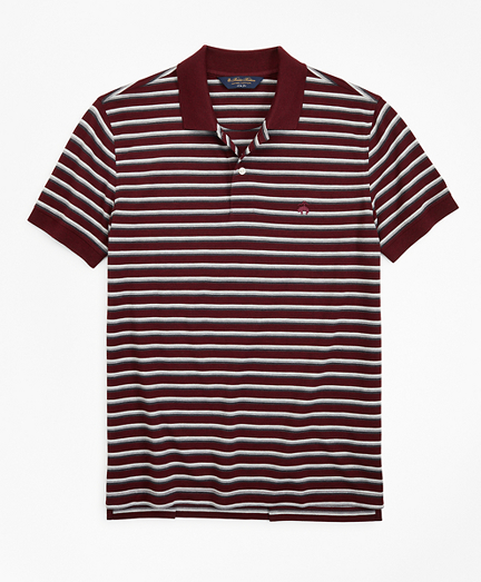 Slim Fit Heathered Stripe Polo Shirt