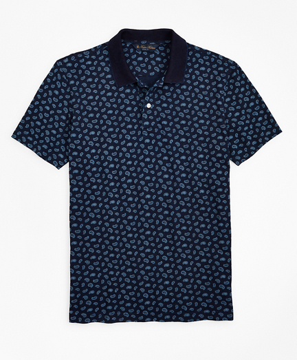Slim Fit Indigo Printed Paisley Polo Shirt