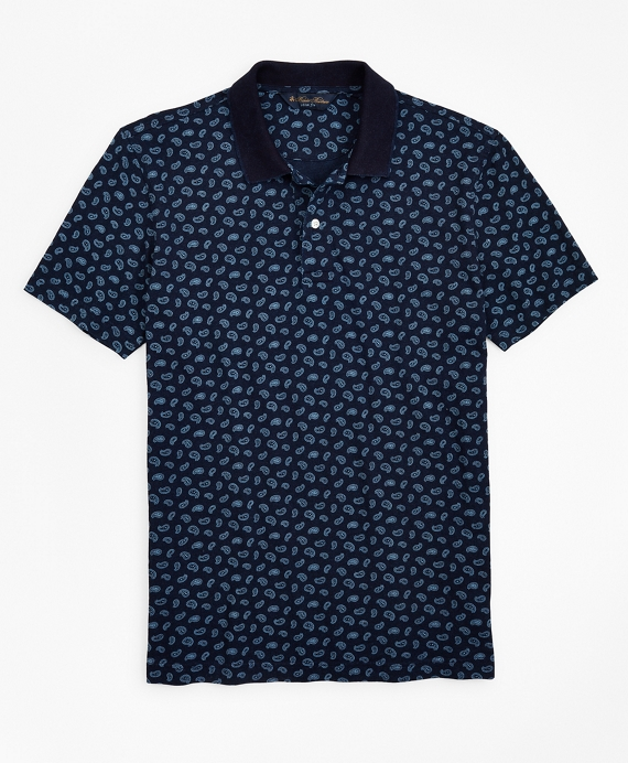 Slim Fit Indigo Printed Paisley Polo Shirt Navy