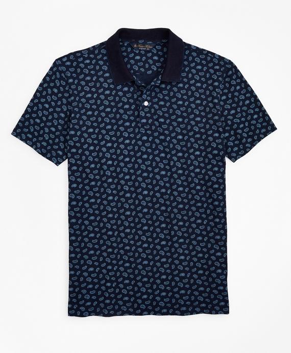 Original Fit Indigo Printed Paisley Polo Shirt Navy