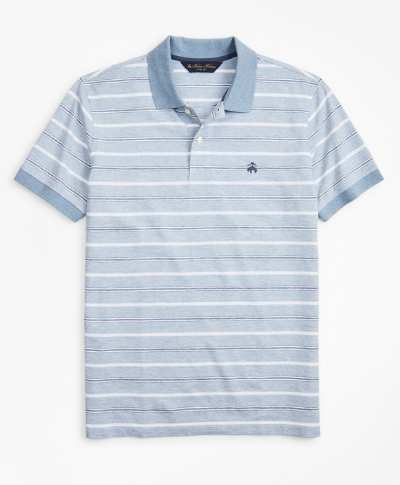 Slim Fit Cotton and Linen Stripe Polo Shirt Blue