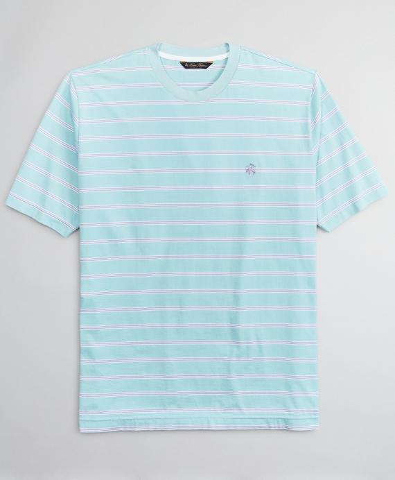 Supima® Cotton Multi-Stripe T-Shirt Aqua