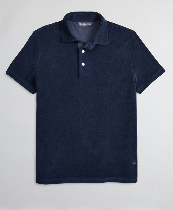 French Terry Polo Shirt Navy