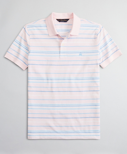 Slim Fit Cotton and Linen Slub Stripe Polo Shirt