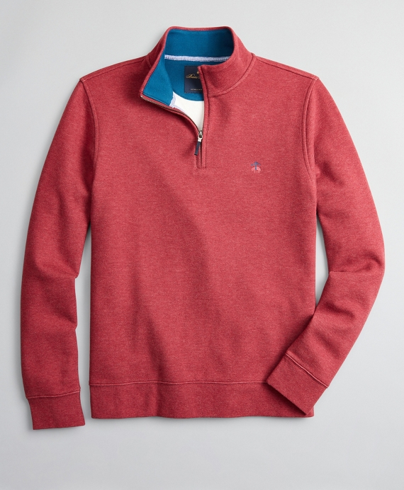 Brushed French Terry Half-Zip Red