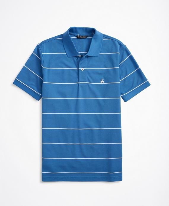 Slim Fit Stretch Cotton Thin Stripe Polo Shirt Blue