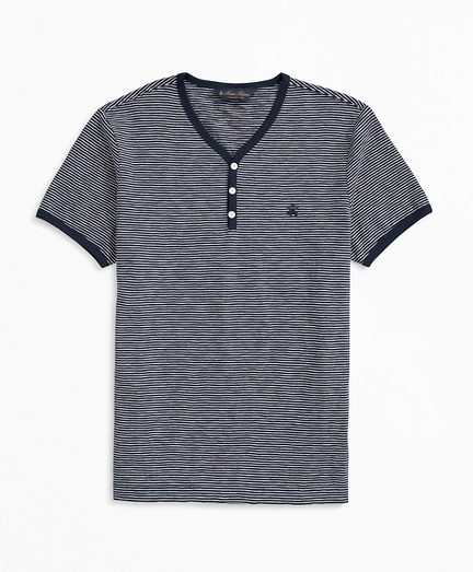 Short-Sleeve Striped Slub Cotton Henley