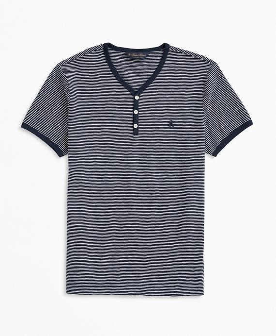 Short-Sleeve Striped Slub Cotton Henley Blue