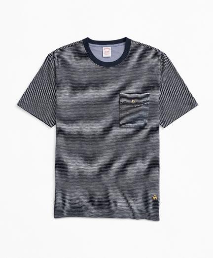 Striped Slub Cotton Pocket T-Shirt
