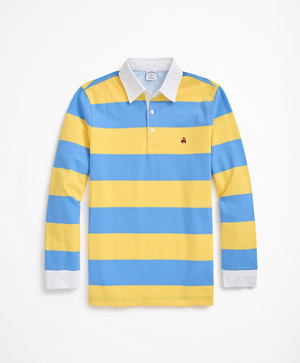 Long-Sleeve Rugby Stripe Stretch Pique Polo Shirt