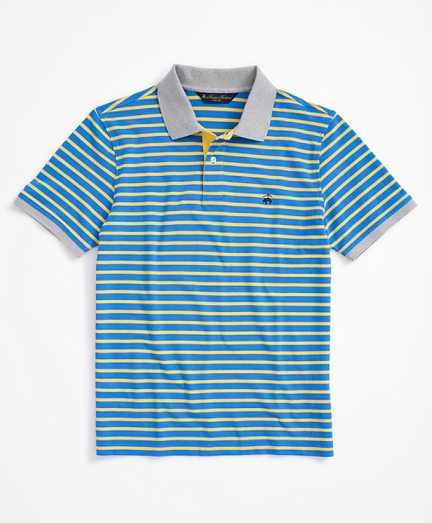 Slim Fit Stretch Cotton Pique Stripe Polo Shirt