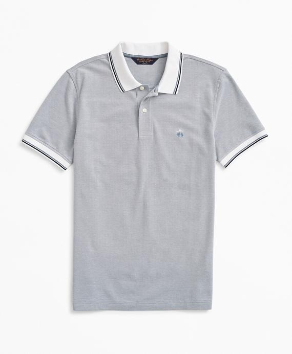 Slim Fit Stretch Striped-Trim Polo Shirt Blue