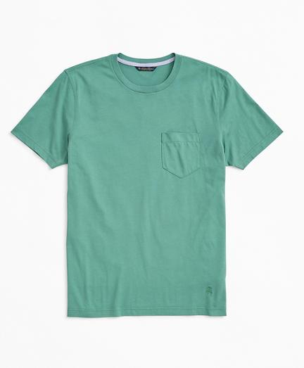 Washed Cotton Pocket Crewneck T-Shirt