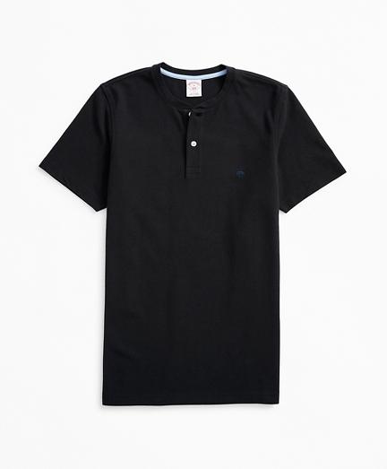 Short-Sleeve Cotton Pique Henley