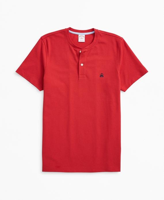 Short-Sleeve Cotton Pique Henley Red