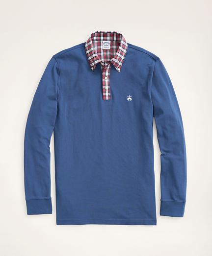 Slim Fit Tartan Collar Long-Sleeve Polo Shirt