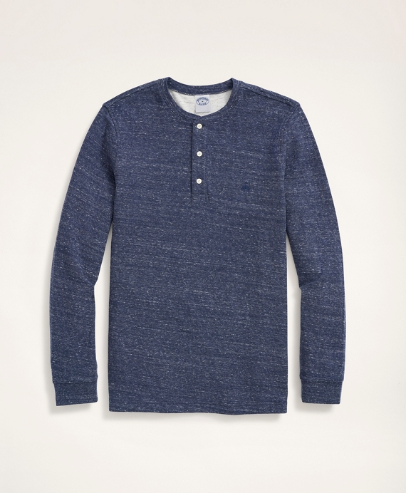 Double-Knit Cotton Jersey Henley Blue