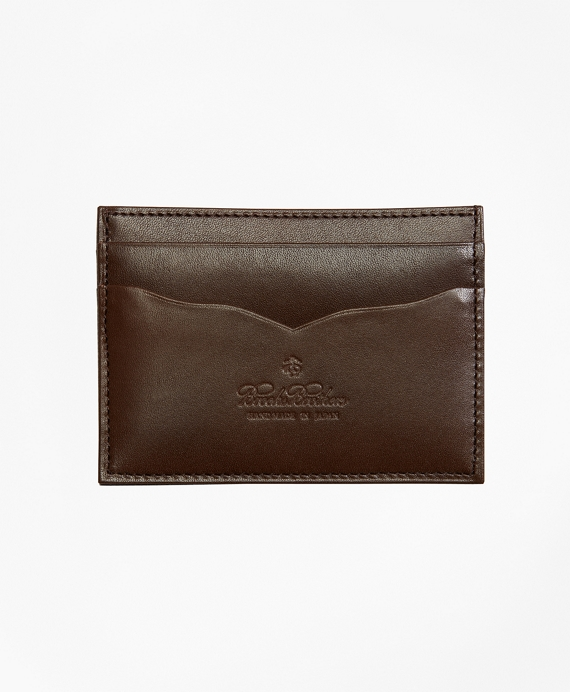 Saffiano Leather Card Case Brown