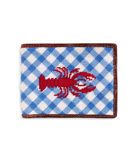 Lobster Gingham Needlepoint Wallet Blue