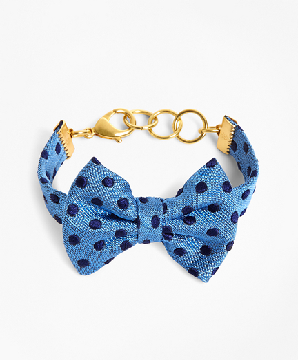 Kiel James Patrick Blue and Navy Polka Dot Bow Tie Bracelet