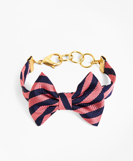 Kiel James Patrick Navy and Pink BB#5 Stripe Bow Tie Bracelet