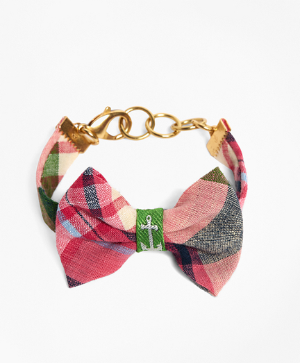 Kiel James Patrick Pink and Green Madras Bow Bracelet