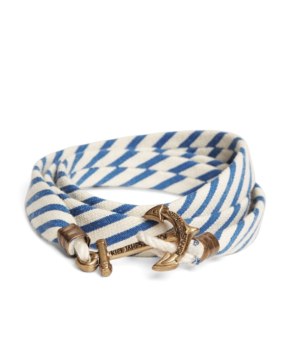 Kiel James Patrick Blue and White Seersucker Lanyard Hitch Cord Bracelet Blue-White