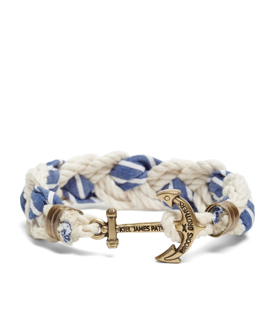 Kiel James Patrick Seersucker Stripe Braided Bracelet Navy