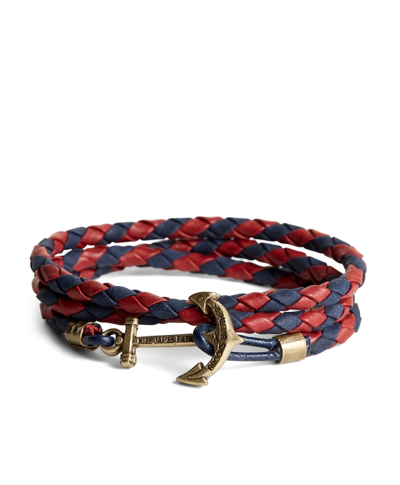 Kiel James Patrick Leather Wrap Bracelet Navy-Red