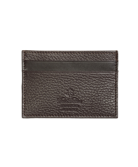 Pebble Leather Card Case Brown