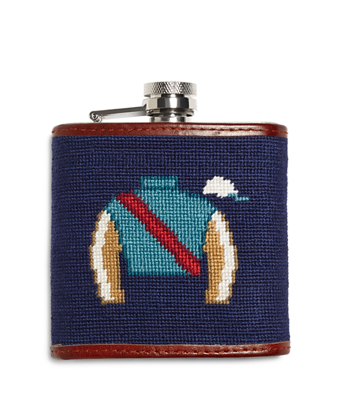 Horse Racing Needlepoint Flask