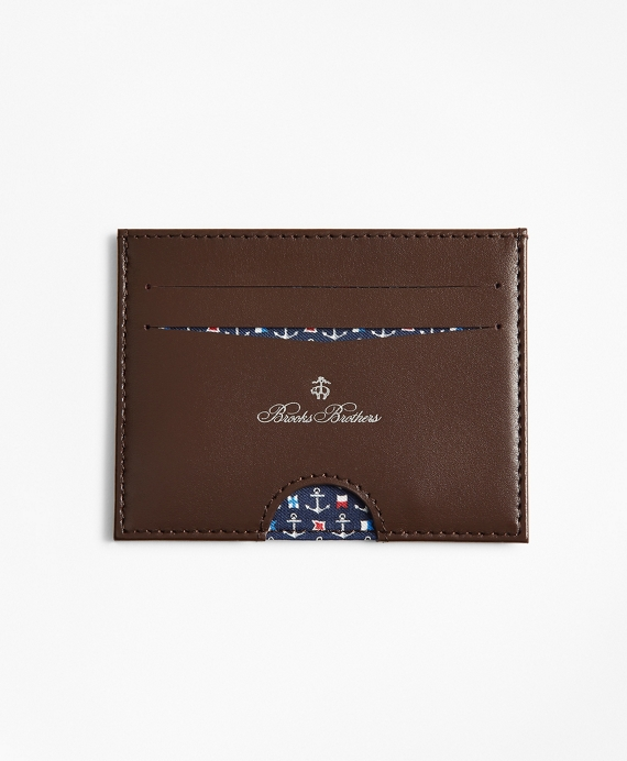 Embossed Leather Card Case Navy