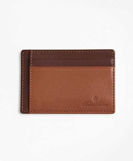 Embossed Leather Card Case Saddle Trim