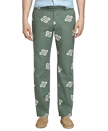 Milano Fit Linen and Cotton Vintage Print Pants