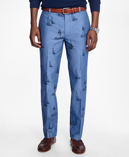 Milano Fit Chambray Boat Print Pants