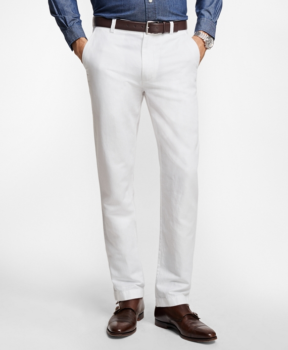 Clark Fit Linen and Cotton Chinos White