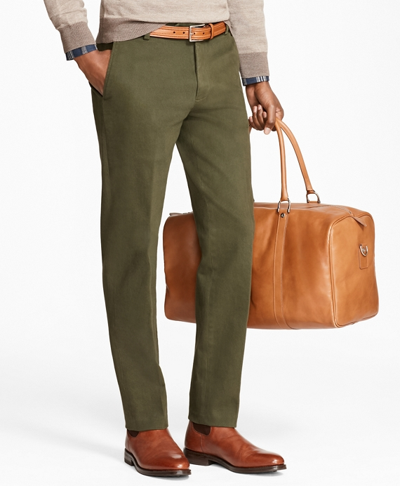 Milano Fit Brushed Twill with Stretch Chinos Dark Green